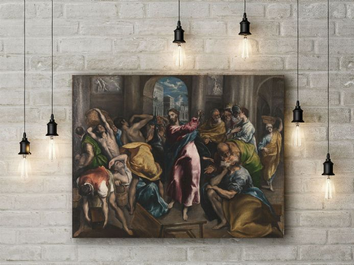 El Greco: Christ Driving the Traders from the Temple. Fine Art Canvas.